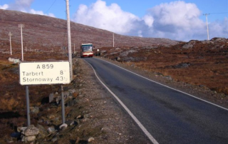 Travelling the main road through Harris. The photo was taken by David Crocker.